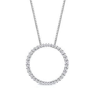 14k White Gold Round-cut Diamond Circle of Life Pendant (1/2 cttw