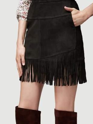 Frame Fringe Overlay Suede Skirt