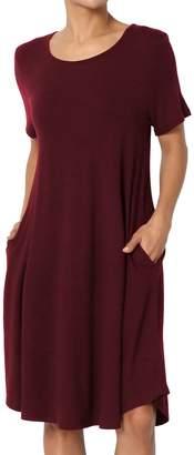 Ash TheMogan Women's 3/4 Sleeve Pocket Swing Flared Tunic Mini Dress Khaki 2XL