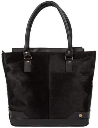 MAHI Leather Black Pony Hair Florence Tote Handbag