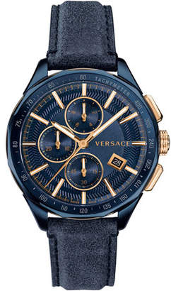 Versace Men's 44mm Glaze Chronograph Watch w/ Leather Strap, Blue