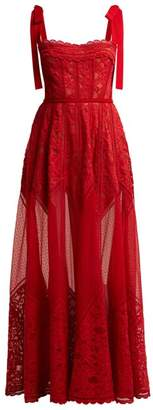 Elie Saab Polka Dot Tulle And Chantilly Lace Gown - Womens - Red