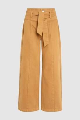 Next Womens Dark Blue Belted High Waist Wide Leg Ankle Jeans