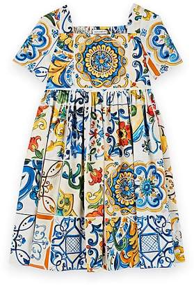 Dolce & Gabbana Kids' Majolica-Tile-Print Cotton Poplin Dress