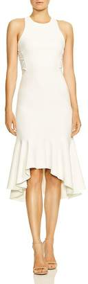 Halston Sleeveless Flounce-Hem Dress