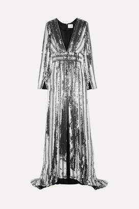 Galvan Stardust Sequined Chiffon Gown - Silver