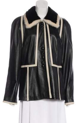 Couture Chosen Collection Mink-Collared Leather Coat w/ Tags