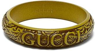 Gucci Logo And Snake Embossed Bracelet - Womens - Green