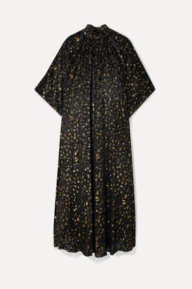Reem Acra Metallic Fil Coupé Chiffon Midi Dress - Black
