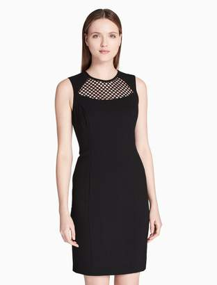 Calvin Klein mesh yoke sheath dress