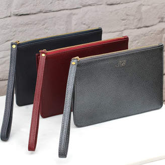 66fa8580f16 at Notonthehighstreet.com · Hurleyburley Personalised Luxury Leather Wrist  Strap Clutch Bag
