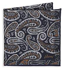 Brioni Men's Paisley Print Pocket Square