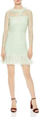 Sandro Haïti Ruffled Sheer Lace A-line Dress