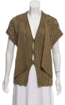 Oscar de la Renta Linen & Silk Short Sleeve Cardigan