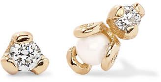 Sebastian SARAH & Petite Heirloom 9-karat Gold, Diamond And Pearl Earrings