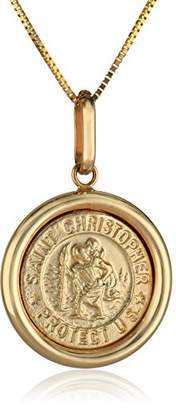 14k Italian Saint Christopher Round Medal Pendant Necklace