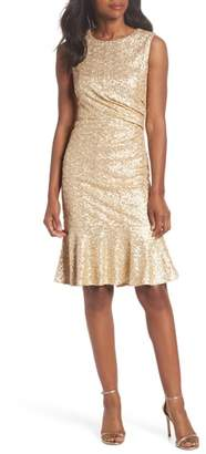 Eliza J Sequin Ruffle Hem Sheath Dress