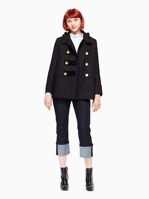 Ruffle velvet trim coat