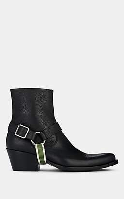 Calvin Klein Men's Harness-Strap Leather Ankle Boots - Black, Nvy