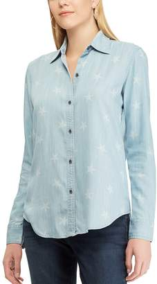 Chaps Petite Star Chambray Shirt