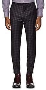 Paul Smith Men's Plaid Wool Flannel Slim Trousers - Mauve