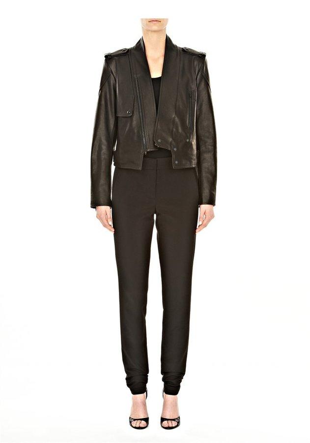 Alexander Wang Zip Collar Leather Moto Jacket