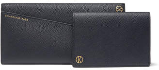 Smythson Kingsman Panama Cross-Grain Leather Travel Wallet and Passport Holder - Men - Navy