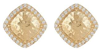 Argentovivo 18K Gold Plated Sterling Silver Crystal Pave Square Stud Earrings