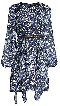 BCBGMAXAZRIA Women's Jewel Print Handkerchief Hem Dress - Size 0