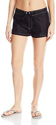 ZeroXposur Women's Basic Woven Swim Boardshort with Built-in Brief