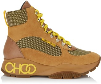 Jimmy Choo INCA/F Cuoio and Fluorescent Yellow Crosta Suede, Calf and Technical Mesh Trainers