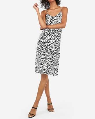 Express Leopard Print Midi Slip Dress