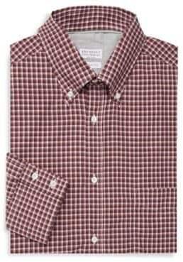 Brunello Cucinelli Windowpane Plaid Cotton Button-Down Shirt