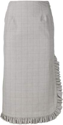 I'M Isola Marras ruffled grid print midi skirt