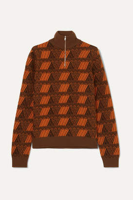 Prada Intarsia Wool And Cashmere-blend Sweater - Brown