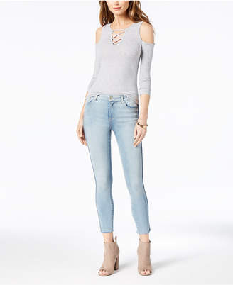 M1858 Kristen Mid-Rise Cropped Skinny Jeans with Cord-Trim, Created for Macy's