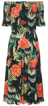 Dorothy Perkins Womens Navy Tropical Print Midi Bardot Dress
