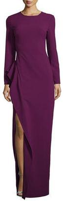 Black Halo Long-Sleeve Draped Stretch Crepe Gown, Jezebel $575 thestylecure.com