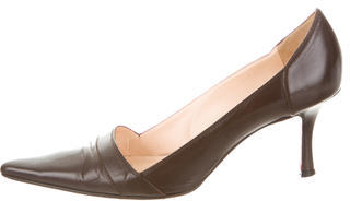 Christian Louboutin Leather Pointed-Toe Pumps $205 thestylecure.com