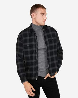Express Ombre Plaid Zip Front Flannel Shirt