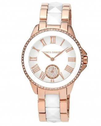 Vince Camuto (ヴィンス カムート) - Vince Camuto Women 's VC / 5046wtrg Swarovski Crystal AccentedローズゴールドTone and White Ceramic Pyramid Bracelet Watch