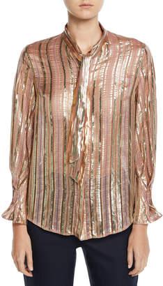 Shimmer-Striped Chiffon Tie-Neck Blouse