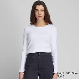 Uniqlo WOMEN 1*1 Ribbed Cotton Crew Neck Long Sleeve T-Shirt