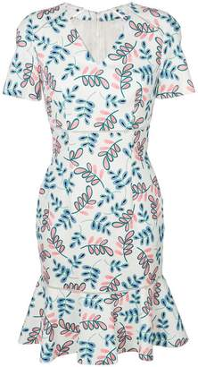 Talbot Runhof leaf patterned dress
