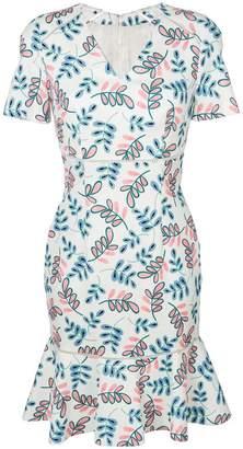 Talbot Runhof leaf patterned dress