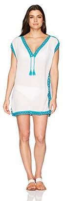 Coastal Blue Women's Swimwear Crochet Border Kaftan Cover Up