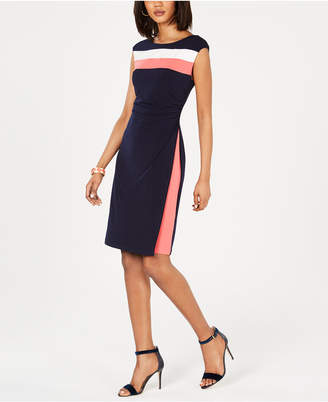 Connected Sleeveless Tri-Tone Sheath Dress