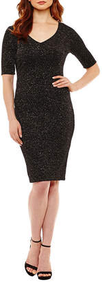 Bisou Bisou Elbow Sleeve Glitter Bodycon Dress