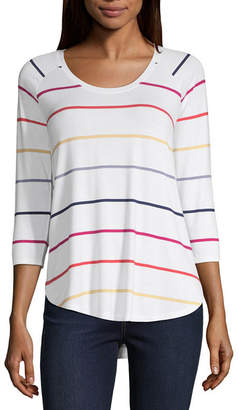 A.N.A Womens Round Neck 3/4 Sleeve T-Shirt