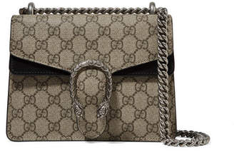 Gucci Dionysus Mini Coated-canvas And Suede Shoulder Bag - Beige